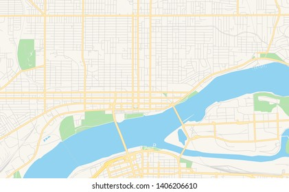 Empty vector map of Davenport, Iowa, USA, printable road map created in classic web colors for infographic backgrounds.