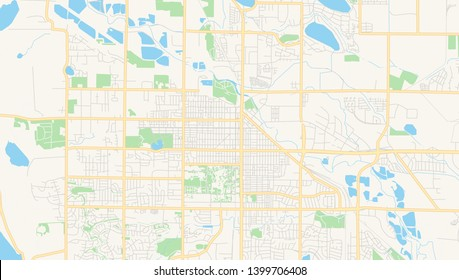 Empty vector map of Fort Collins, Colorado, USA, printable road map created in classic web colors for infographic backgrounds.