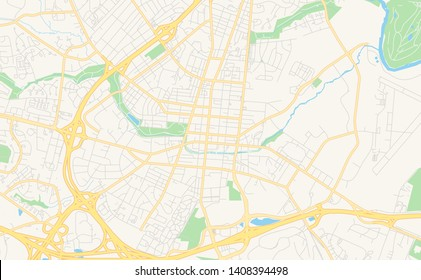 Empty vector map of Frederick, Maryland, USA, printable road map created in classic web colors for infographic backgrounds.