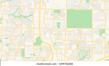 Empty vector map of Frisco, Texas, USA, printable road map created in classic web colors for infographic backgrounds.