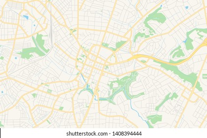 Empty vector map of Greenville, South Carolina, USA, printable road map created in classic web colors for infographic backgrounds.
