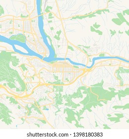 Empty vector map of Kamloops, British Columbia, Canada, printable road map created in classic web colors for infographic backgrounds.