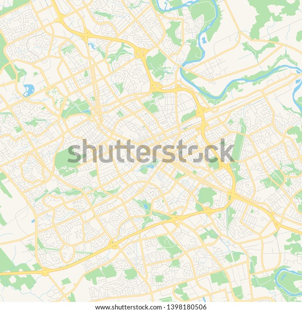 Map Of Canada Kitchener.Empty Vector Map Kitchener Ontario Canada Stock Vector Royalty Free