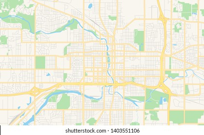 Empty vector map of Lansing, Michigan, USA, printable road map created in classic web colors for infographic backgrounds.