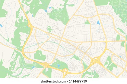 Empty vector map of Leesburg, Virginia, United States of America, printable road map created in classic web colors for infographic backgrounds.