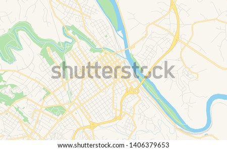 photo relating to Printable Map of Virginia known as Vacant Vector Map Lynchburg Virginia United states of america Inventory Vector