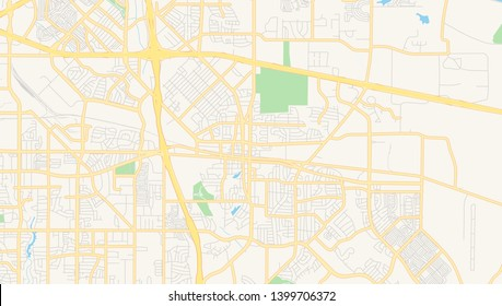 Empty vector map of Mesquite, Texas, USA, printable road map created in classic web colors for infographic backgrounds.