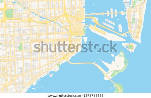miami florida usa map Empty Vector Map Miami Florida Usa Stock Vector Royalty Free miami florida usa map