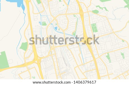 Empty Vector Map Milpitas California USA Stock Vector (Royalty Free ...