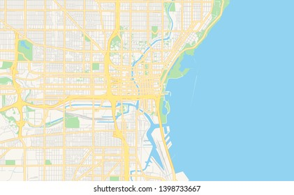 Empty vector map of Milwaukee, Wisconsin, USA, printable road map created in classic web colors for infographic backgrounds.