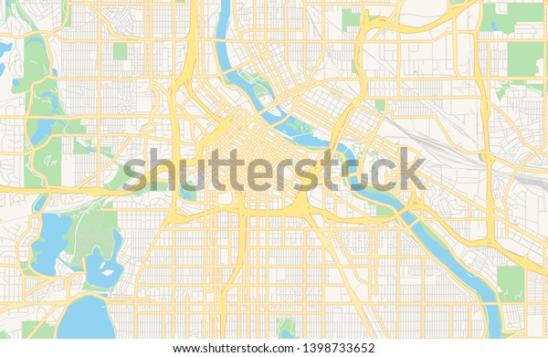 Empty Vector Map Minneapolis Minnesota Usa Stock Vector ...