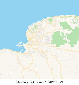 Empty vector map of Montego Bay, Saint Catherine, Jamaica, printable road map created in classic web colors for infographic backgrounds.