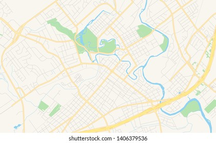 Empty vector map of New Braunfels, Texas, USA, printable road map created in classic web colors for infographic backgrounds.