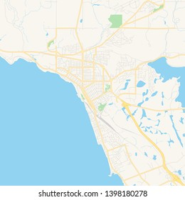 Empty vector map of North Bay, Ontario, Canada, printable road map created in classic web colors for infographic backgrounds.