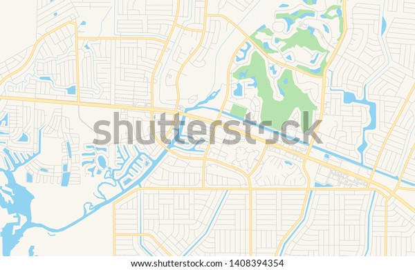 Empty Vector Map North Port Florida Stock Vector (Royalty ...