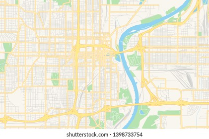 Empty vector map of Omaha, Nebraska, USA, printable road map created in classic web colors for infographic backgrounds.