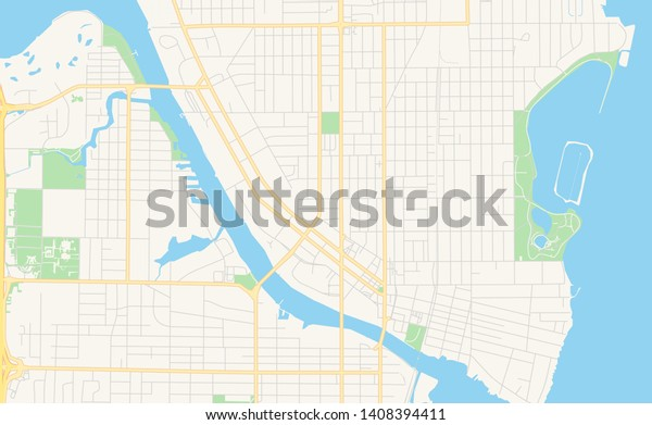 Empty Vector Map Oshkosh Wisconsin Usa Stock Vector (Royalty ...