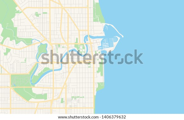 Empty Vector Map Racine Wisconsin Usa Stock Vector (Royalty ...