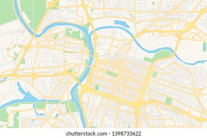 Empty vector map of Sacramento, California, USA, printable road map created in classic web colors for infographic backgrounds.