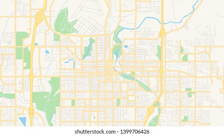 Empty vector map of Sioux Falls, South Dakota, USA, printable road map created in classic web colors for infographic backgrounds.