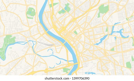 Empty vector map of Springfield, Massachusetts, USA, printable road map created in classic web colors for infographic backgrounds.