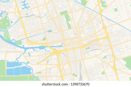 Empty vector map of Stockton, California, USA, printable road map created in classic web colors for infographic backgrounds.