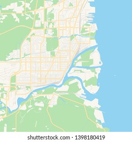 Empty vector map of Thunder Bay, Ontario, Canada, printable road map created in classic web colors for infographic backgrounds.