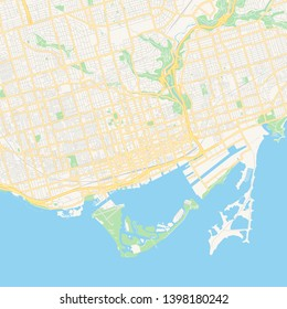 Empty vector map of Toronto, Ontario, Canada, printable road map created in classic web colors for infographic backgrounds.