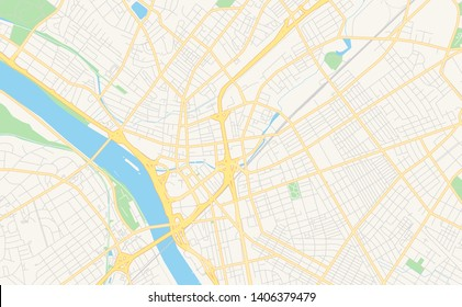 Empty vector map of Trenton, New Jersey, USA, printable road map created in classic web colors for infographic backgrounds.