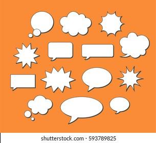 Empty vector speech bubbles set. Blank comic message boxes collection.