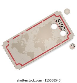 Empty vector vintage ticket - world map - space for text