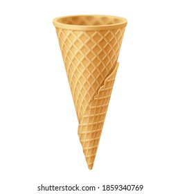 Empty Waffle Cup for Ice Cream. Empty Sugar Crunchy Icecream Waffle Cone. Street Fast Food Creative illustration Isolated on White Backdrop