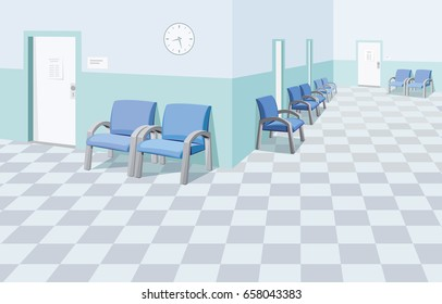 Empty waiting room in the hospital. Private medical practice. Modern Interior at the doctor. The best medical health care. Cartoon vector illustration.
