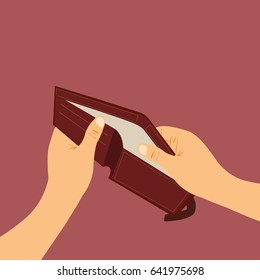 Empty wallet, broke vector Illustration design concept