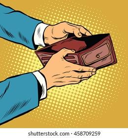 Empty wallet, no money pop art retro vector illustration. Finance and poverty