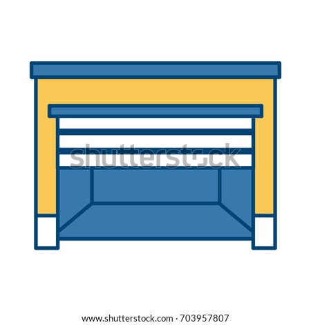 empty warehouse front open door template stock vector royalty free