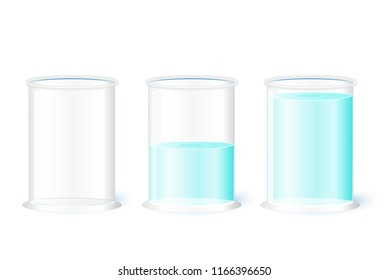 Empty water glass on a white background. Pessimism, realism and Optimism (Is the glass half-full or half-empty?). Vector illustration for your design, educational, and science use