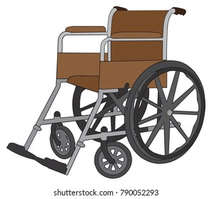 An empty wheelchair is ready to be put into service