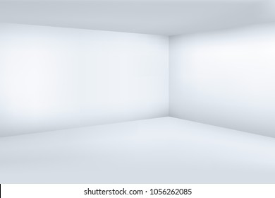 Empty white 3d modern room with space clean corner vector illustration. Space room interior, empty floor and wall