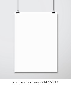 Empty white A4 sized vector paper mockup hanging with paper clips. Show your flyers, brochures, headlines etc with this highly detailed realistic design template element.