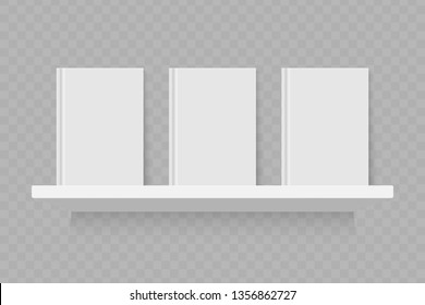 Empty white book on shelf. Realistic vector bookshelf