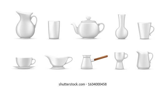 Empty white ceramic, porcelain tableware set. Realistic beverage ceramic crockery tea coffee cups, jug for milk, decanter, cup for cream, teapot, coffee turk, glass for alcoholic beverages vector