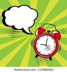 Empty white comic bubble and red alarm clock on green background in pop art style. Vector illustration