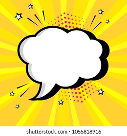 Empty white comic bubble for your text on yellow background. Comic sound effects in pop art style. Vector illustration