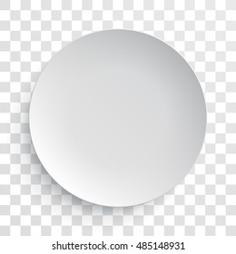 Empty white dish plate background. Vector round dinner plate. Paper plate illustration on transparent background.