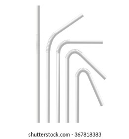 Empty White Drinking Straws Set. Vector illustration