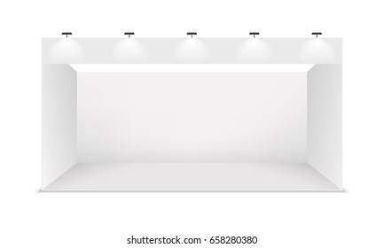 Empty white exhibition booth, vector.