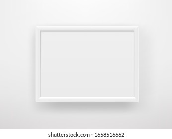 Empty white frame on a white wall. Copy space vector template