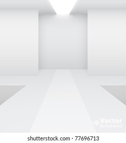 Empty white interior. Fashion podium. Vector illustration