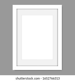 Empty white modern photo frame, realistic vector mockup